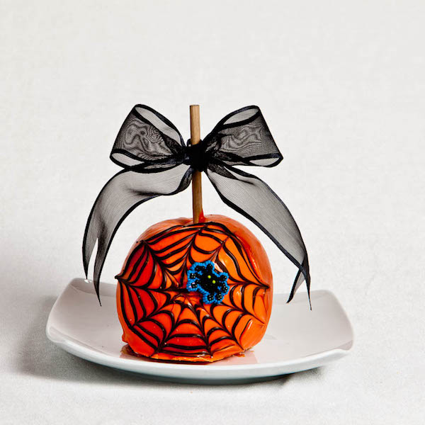 Spider Web Caramel Apple