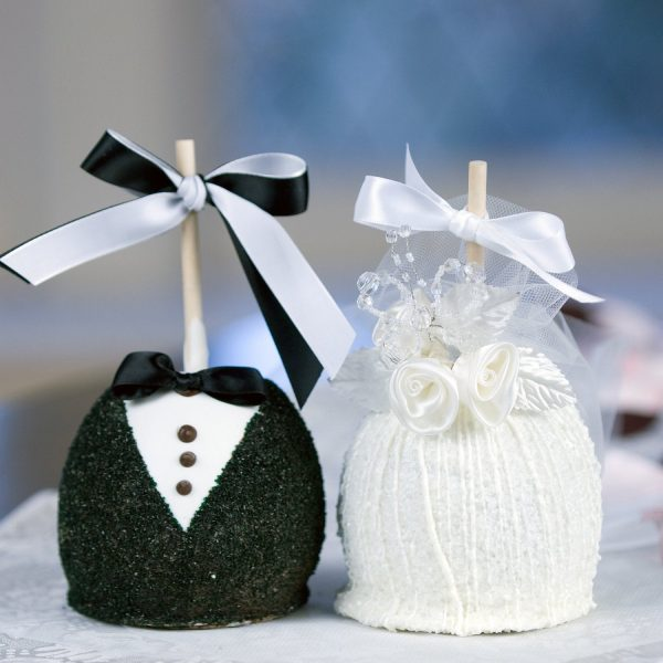 Bride and Groom Chocolate Caramel Apple